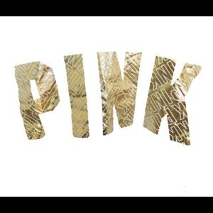 PINK Victoria's Secret Tops - VICTORIAS SECRET PINK. Crop. Metallic gold print.